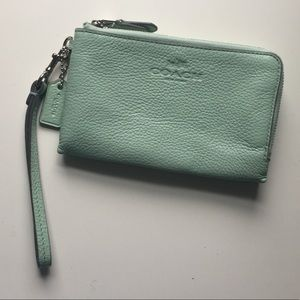 Coach double zip wristlet mint green leather